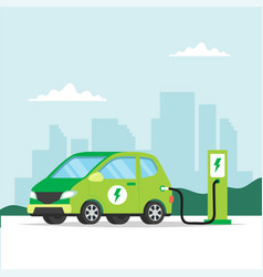 electric car charging on city background concept vector image