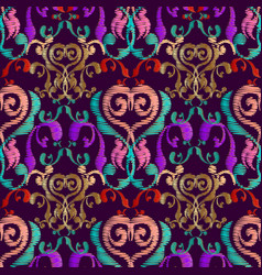 embroidery baroque seamless pattern vintage vector image