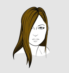 Face of woman with long straight hair vector image