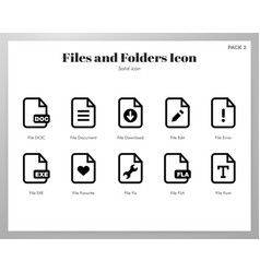 Files and folders icons solid pack vector