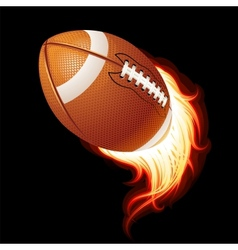 Flying flaming american football ball vector
