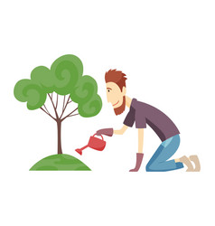 gardener working in garden cartoon icon landscape vector image