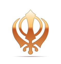 Gold khanda Sikh icon on white background vector