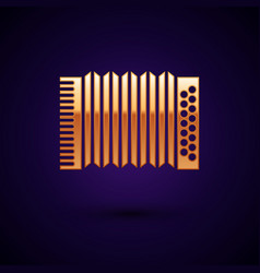 Gold musical instrument accordion icon isolated on vector
