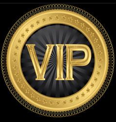 Golden vip badge vector