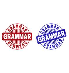 Grunge grammar scratched round stamps vector