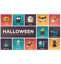 Halloween - modern flat design icons set vector