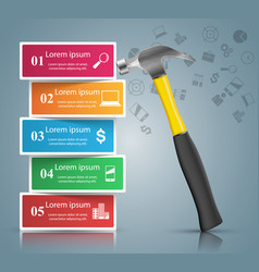 hammer repair icon business infographic vector image