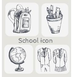 Hand drawn school icon set vector image