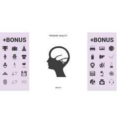 head with brain symbol icon - graphic elements for vector image
