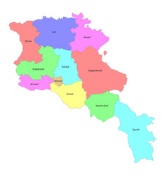 High quality labeled map armenia with borders vector