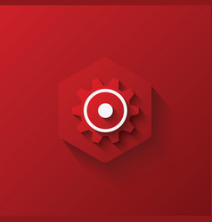 Icon gears on hexagon red icon and background lo vector