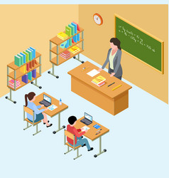 isometric classroom with teacher and kids high vector image