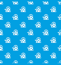 kettle with white dots pattern seamless blue vector image