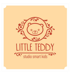 Kids club logo with teddy bear cute kindergarten vector