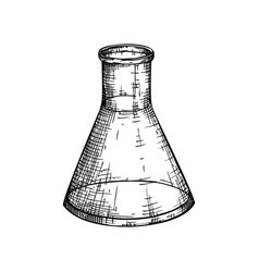 Laboratory equipment sketch hand drawn glass vector