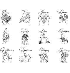line zodiac signs set vector image