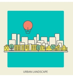 linear background with urban landscape a stylish vector image