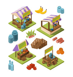 local farm isometric outdoor marketplaces with vector image