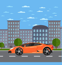 luxury sports car in urban landscape vector image