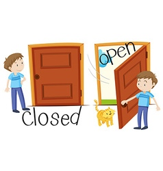 Man by closed and opened door vector