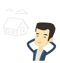 Man dreaming about buying new house vector