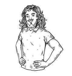 Man in wig engraving vector
