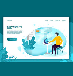man with notebook easely working with code vector image