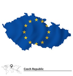 Map of Czech Republic with European Union flag vector image