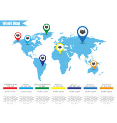 map of earth with infographics population vector image