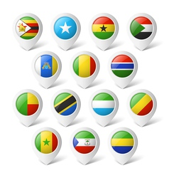 Map pointers with flags Africa vector image