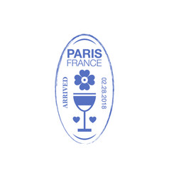 paris arrival ink stamp on passport vector image