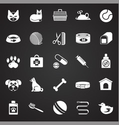 pet icons set on black background for graphic and vector image