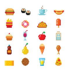 Pixel art food computer design icons vector