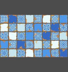 Portuguese azulejo vintage ceramic tile pattern vector