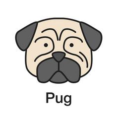 pug color icon vector image