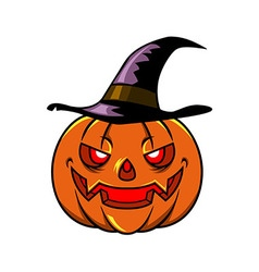 Pumpkin And Witch Hat vector image