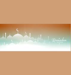 Ramadan kareem mosque banner design vector