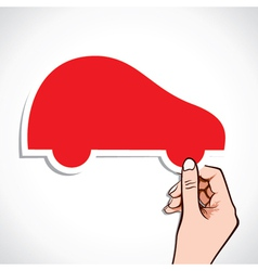 Red car sticker in hand vector