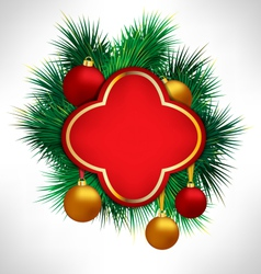 Red Frame on pine branches with Christmas balls vector image