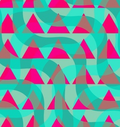 Retro 3D green waves and purple triangles vector