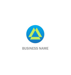 round abstract triangle shape business logo vector image