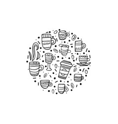 round badge with coffe cups vector image