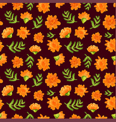 seamless pattern with marigolds on dark backdrop vector image