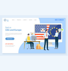 Sell in usa and europe partnership business web vector