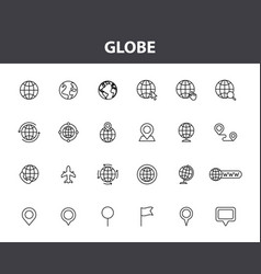 set 24 globe and earth planet web icons in vector image