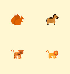 set of animal icons flat style symbols with horse vector image