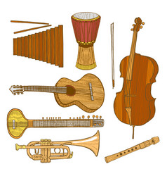 Set of musical instruments in hand-drawn style vector