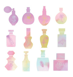 set with vintage cosmetic and perfume bottles vector image
