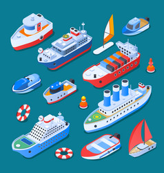 Ships isometric icons vector